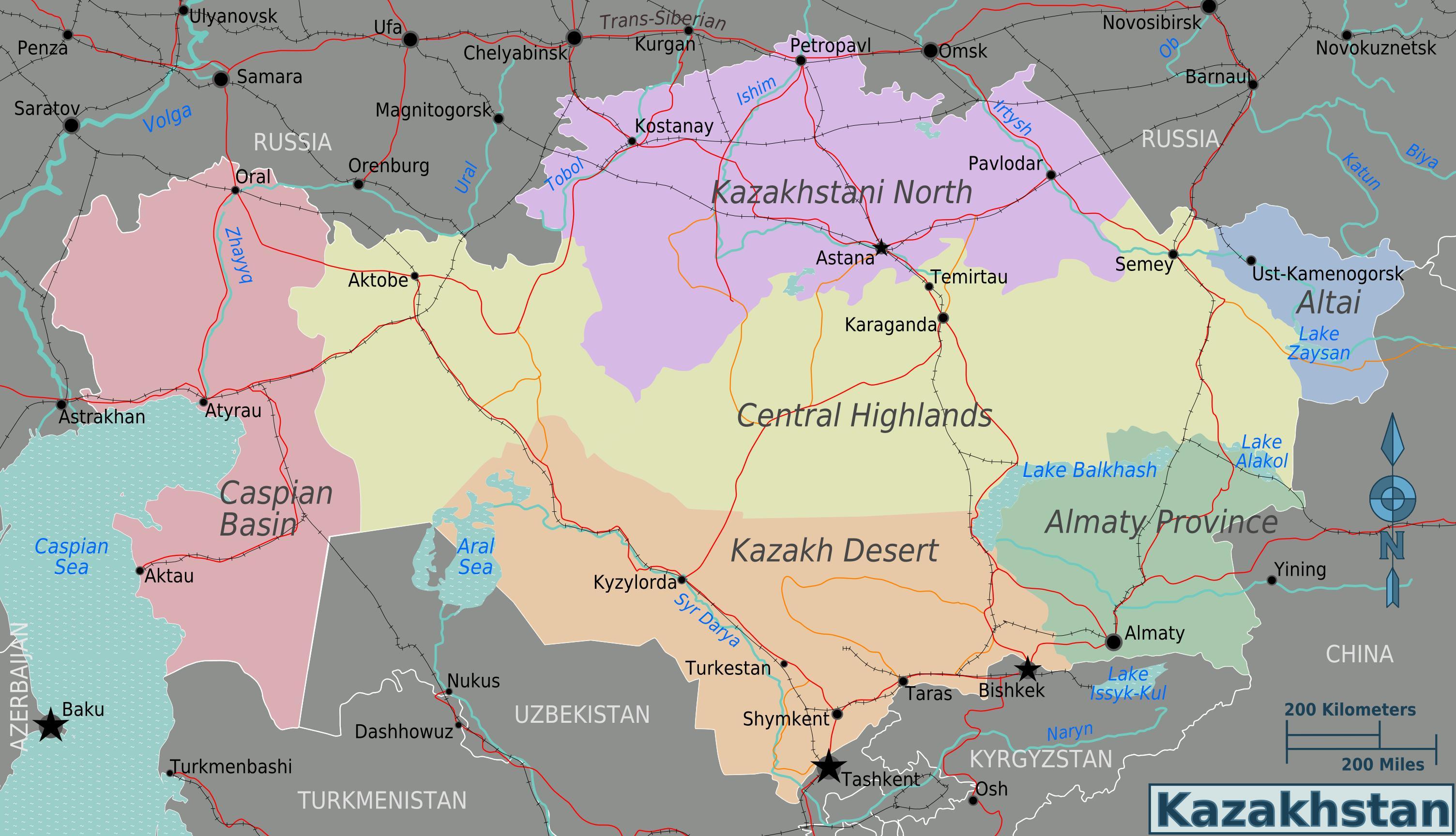 Kasakhstan Regioner Kort Kort Over Kasakhstan Regioner